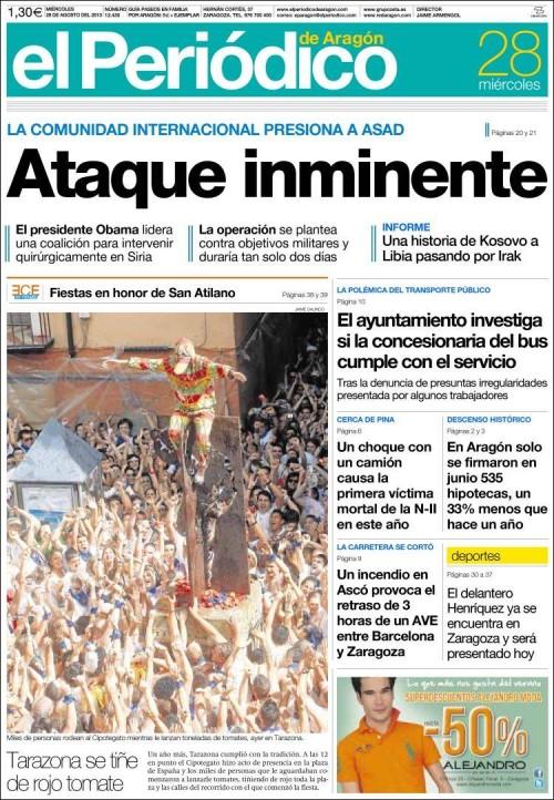 El Periódico de Aragón, 28/8/2013
