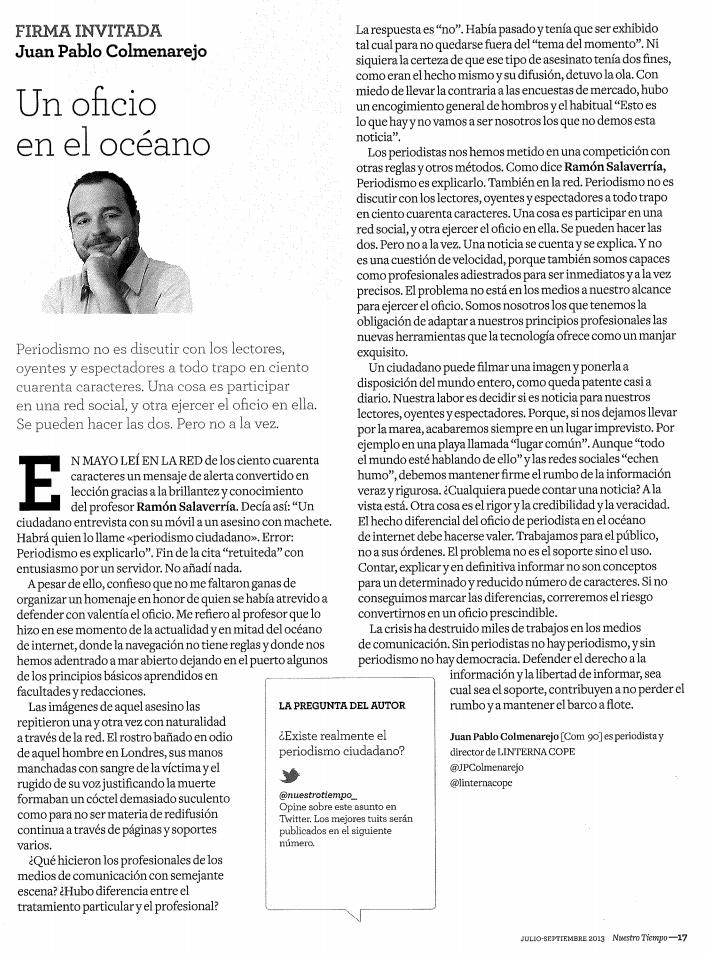 'Un oficio en el océano', Juan Pablo Colmenarejo, «Nuestro Tiempo» (jul-sep 2013)