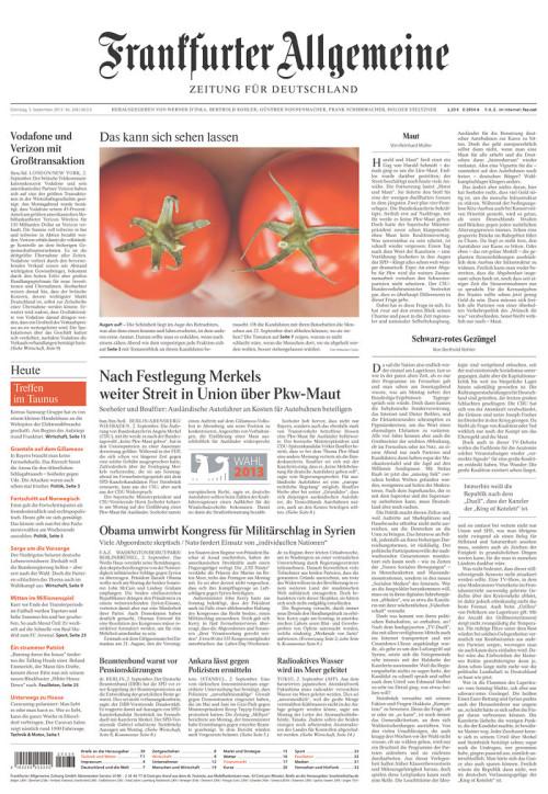 «Frankfurter Allgemeine Zeitung», 3/9/2013