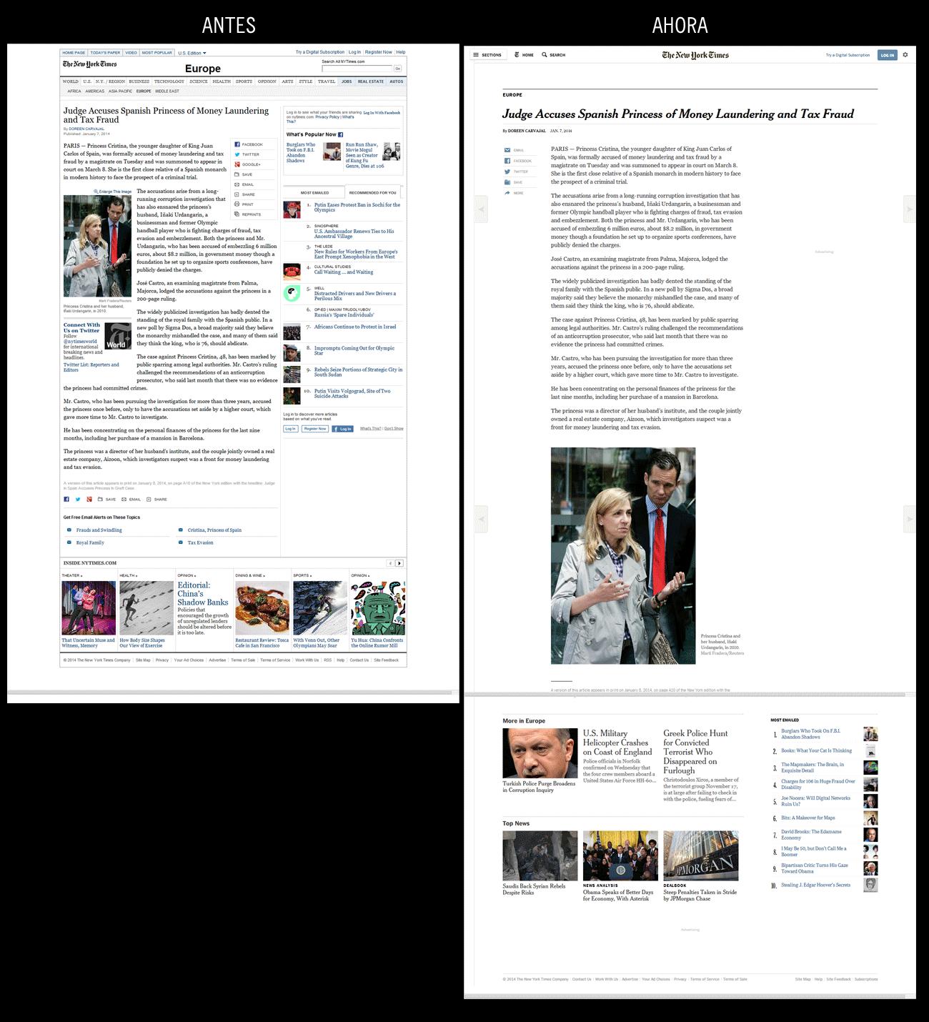 Noticia en NYTimes.com (2014/1/8), antes y después del rediseño