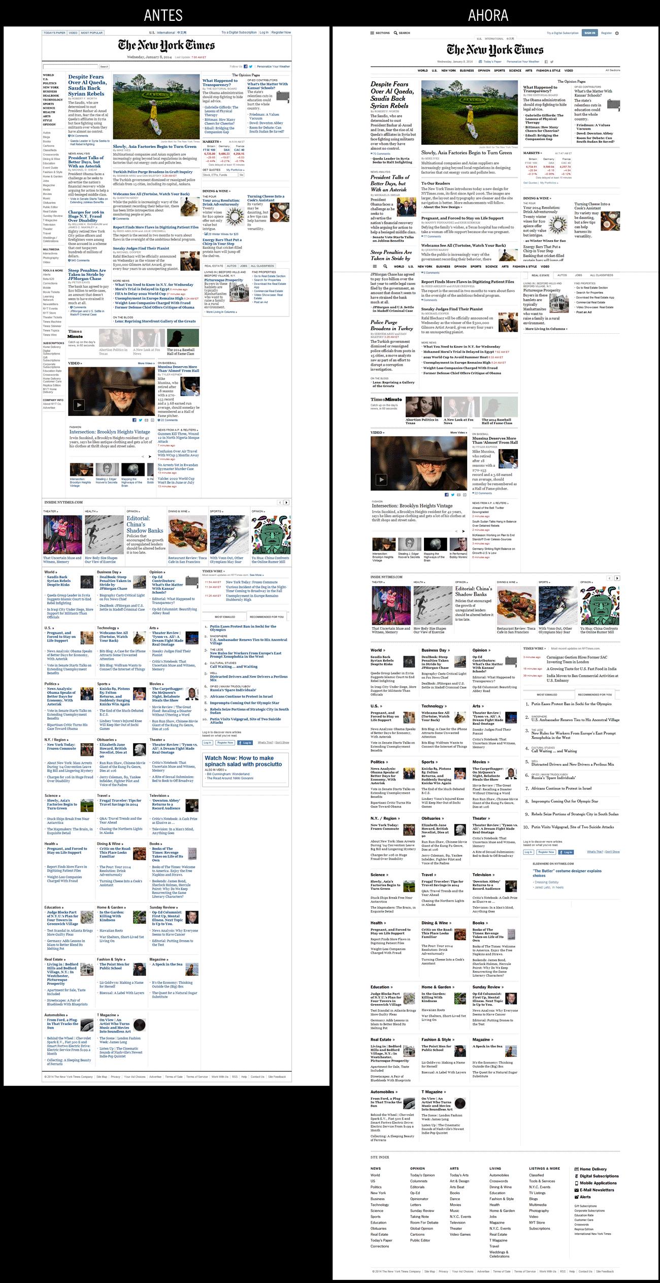 Portada de NYTimes.com (2014/1/8), antes y después del rediseño