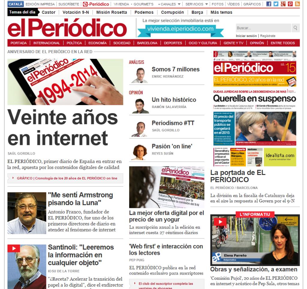 El Periódico - portada PARTE - 16 nov 2014