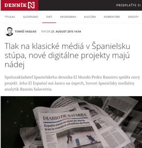 Entrevista en el eslovaco 'Denník N' (21/8/2015)