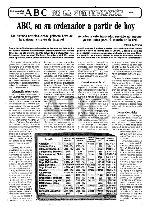 Noticia sobre el lanzamiento de la web de ABC. 20/9/1995