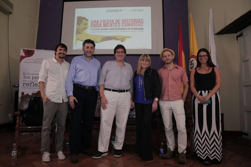 De izq. a dcha., Carlos Serrano (FNPI), Ramón Salaverría (Universidad de Navarra), Jaime Abello (FNPI), Sandra Crucianelli (Solo Local), Gideon Lichfield (Quartz) y Teresita Goyeneche (FNPI).