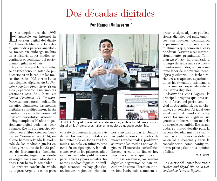 Salaverría, R. (2016). Dos décadas digitales, La Gaceta de Tucumán, 25 septiembre, p. 4.