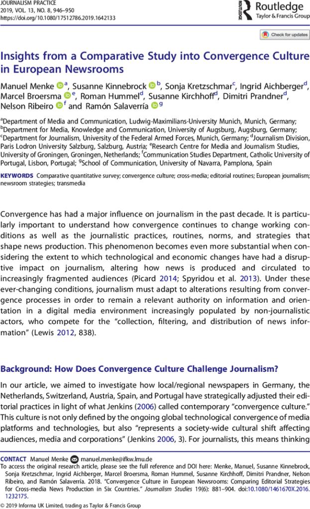 Sobre Convergencia Periodística En Europa En Journalism
